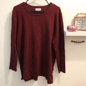 Mudpie Deep Red Sweater with Bobble Details